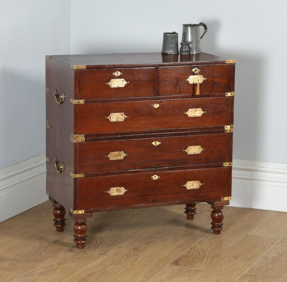 small antique victorian colonial anglo indian teak brass military campaign chest of drawers circa 1840