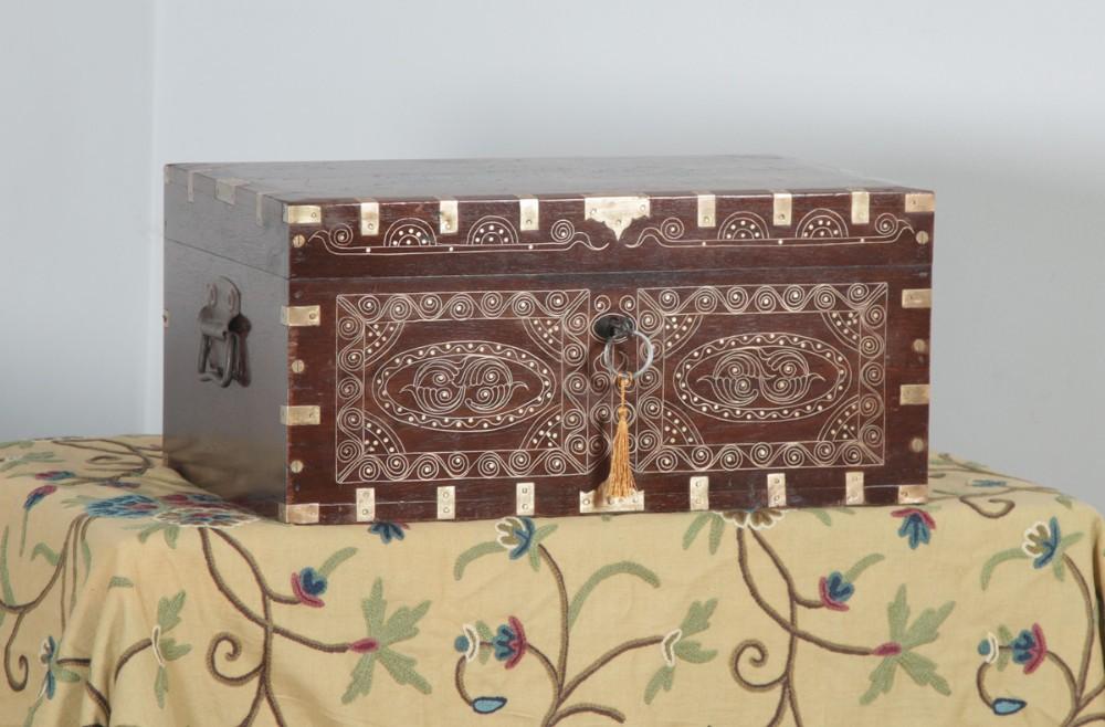 antique victorian burmese teak brass chiming colonial campaign mandalay writing jewellery sewing box circa 1880