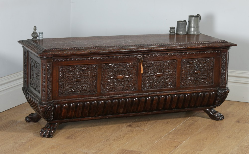 antique italian renaissance carved oak carved marriage cassone chest coffer trunk circa 1820