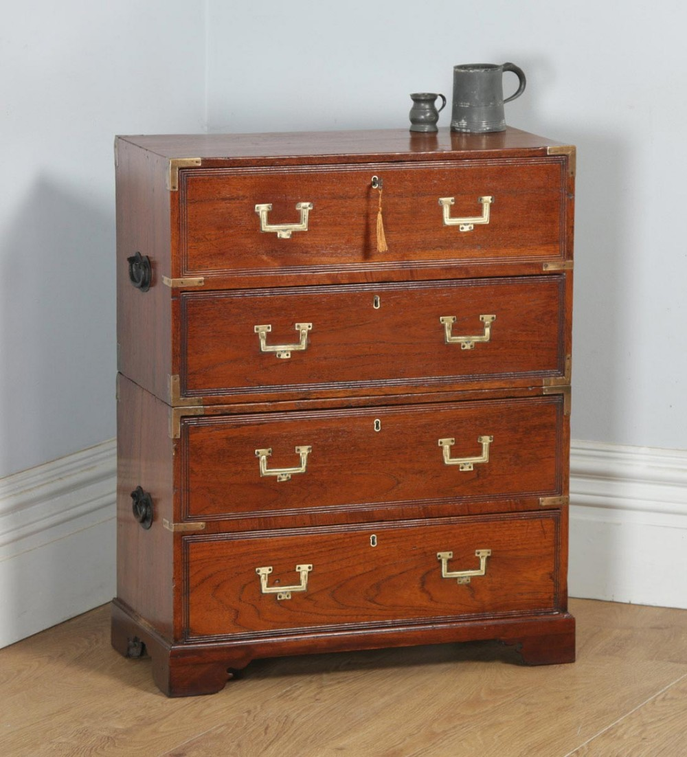 small antique english victorian teak brass military campaign chest of drawers circa 1830