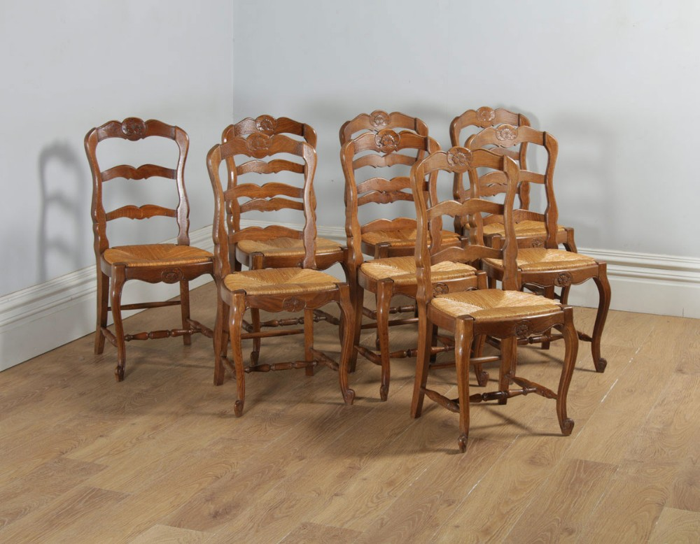 antique set of 8 eight french louis xv style oak ladder back rush seat kitchen dining chairs circa 1910