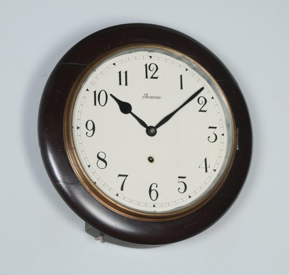 antique 16 mahogany ansonia railway station school round dial wall clock timepiece