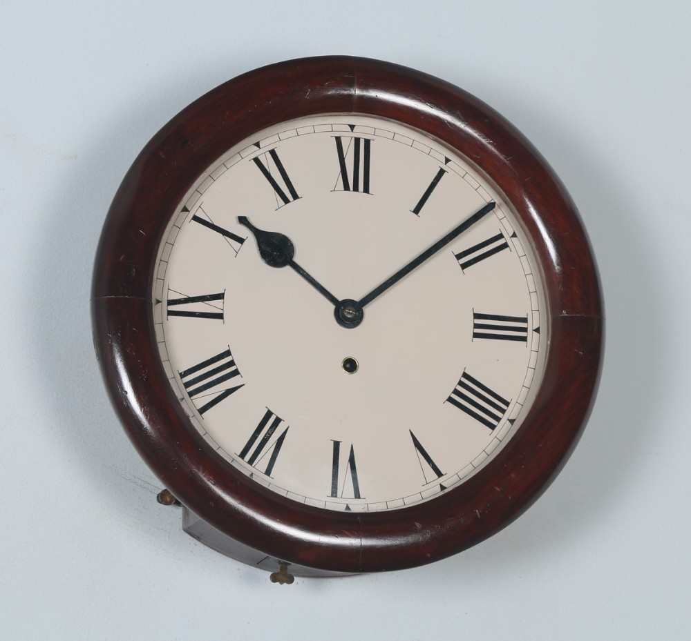 antique 14 mahogany enfield railway station school round dial wall clock timepiece
