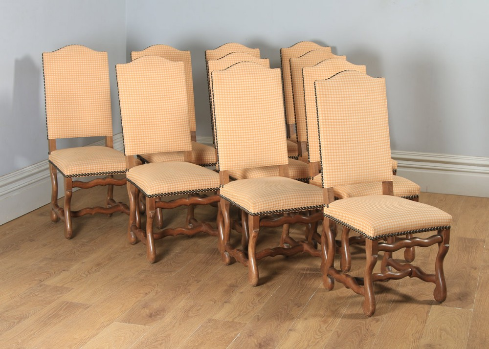 antique set of ten 10 french os de mouton upholstered high back beech dining chairs including recovering circa 1930