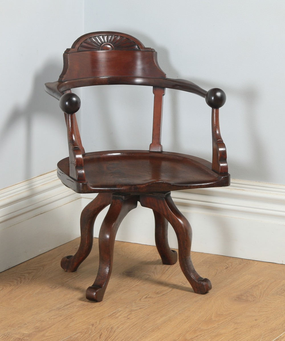antique english victorian aesthetic mahogany revolving office desk arm chair circa 1890