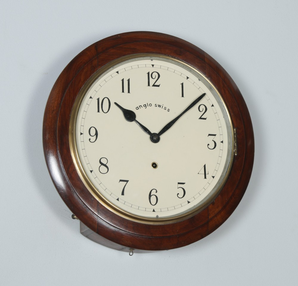 antique 16 mahogany anglo swiss railway station school round dial wall clock timepiece