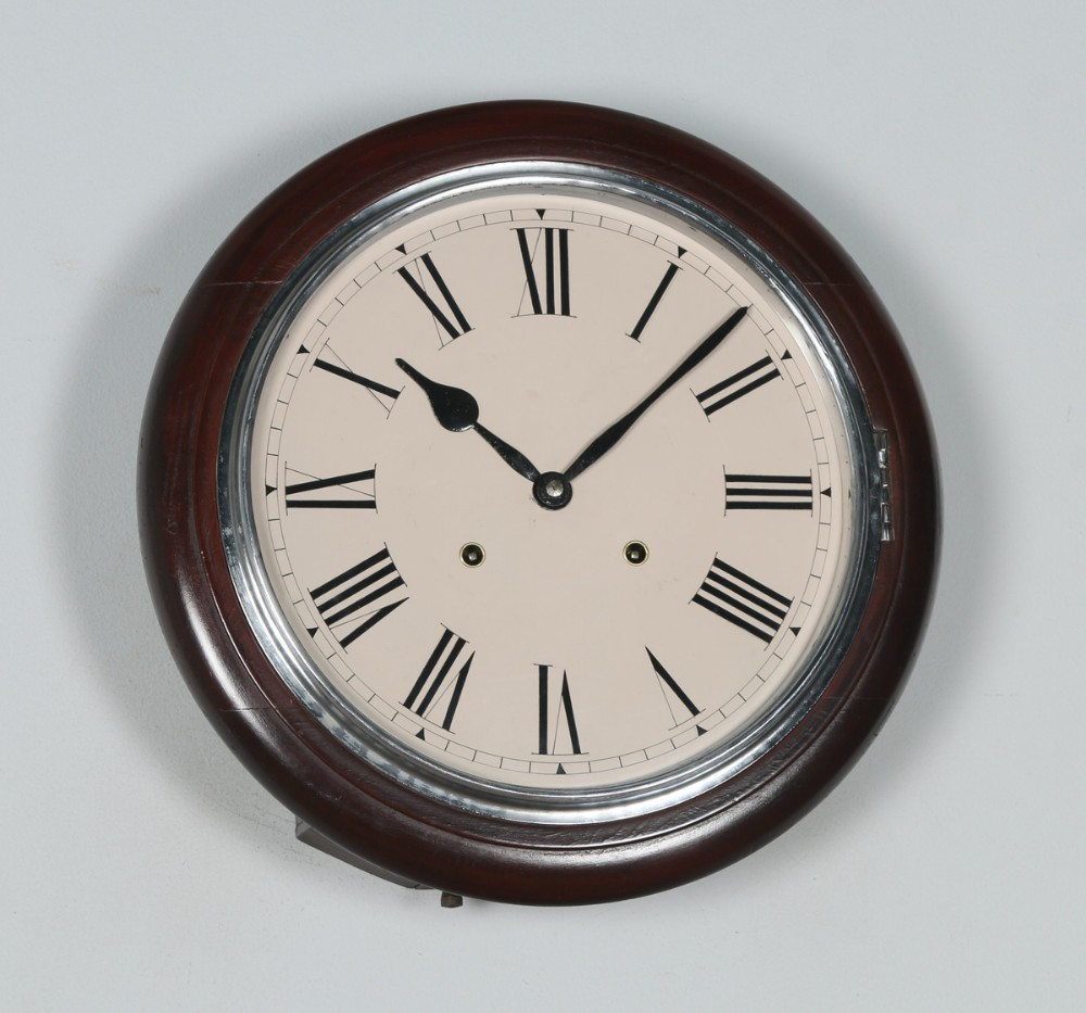 antique 15 japanese welaiti mahogany railway station school round dial wall clock chiming