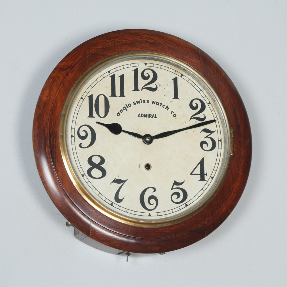 antique 16 mahogany anglo swiss admiral railway station school round dial wall clock timepiece