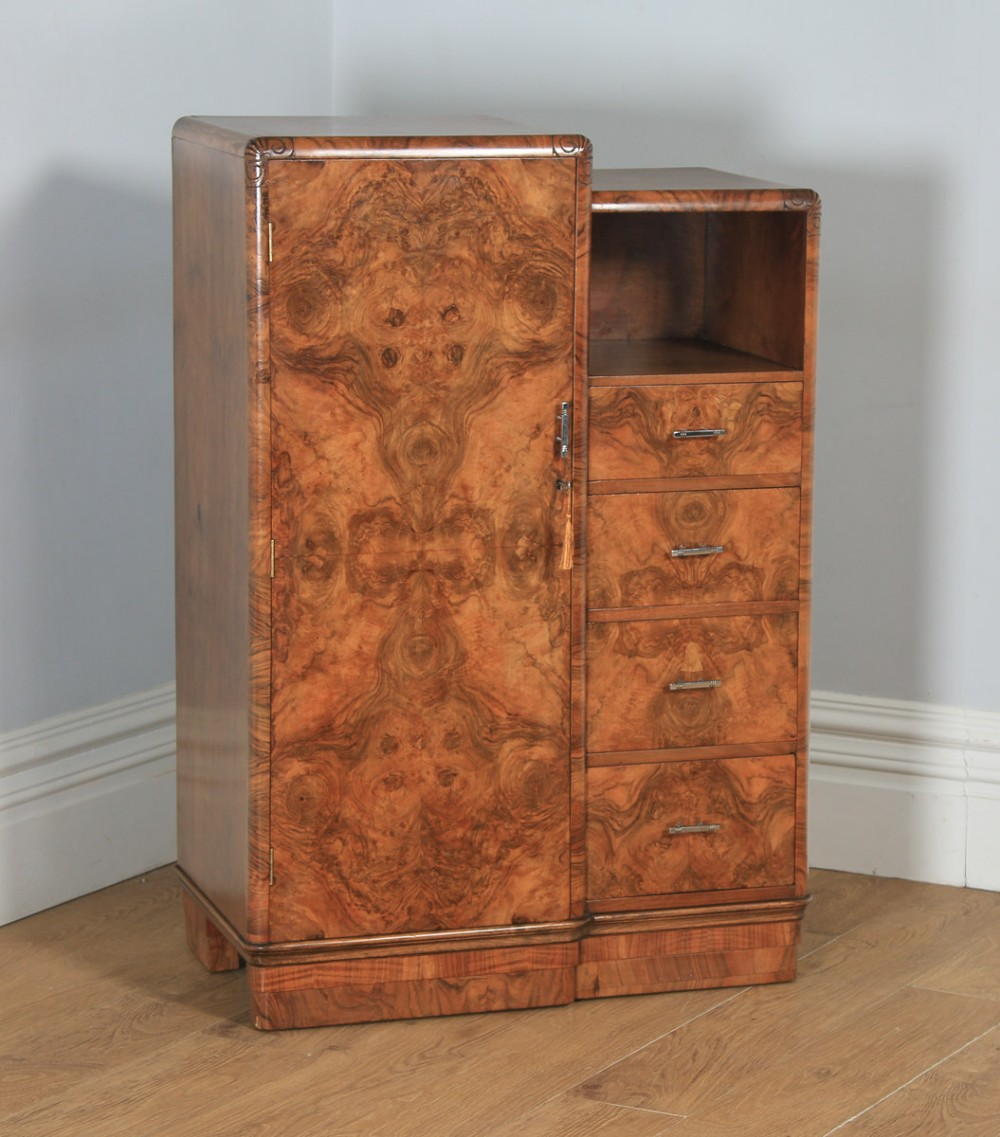 antique english art deco burr walnut tallboy compactum wardrobe chest of drawers circa 1930