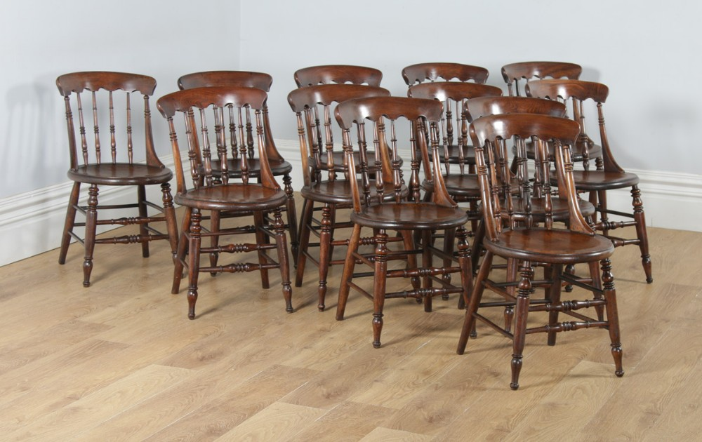 antique english set of twelve 12 victorian ash elm windsor spindle bar back kitchen dining chairs circa 1880