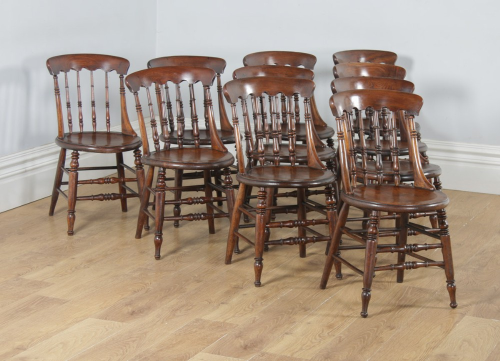 antique english set of ten 10 victorian ash elm windsor spindle bar back kitchen dining chairs circa 1880