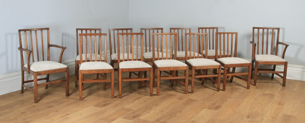 antique english arts crafts set of 12 twelve oak cotswold foster sons style kitchen spindle back dining chairs circa 1930