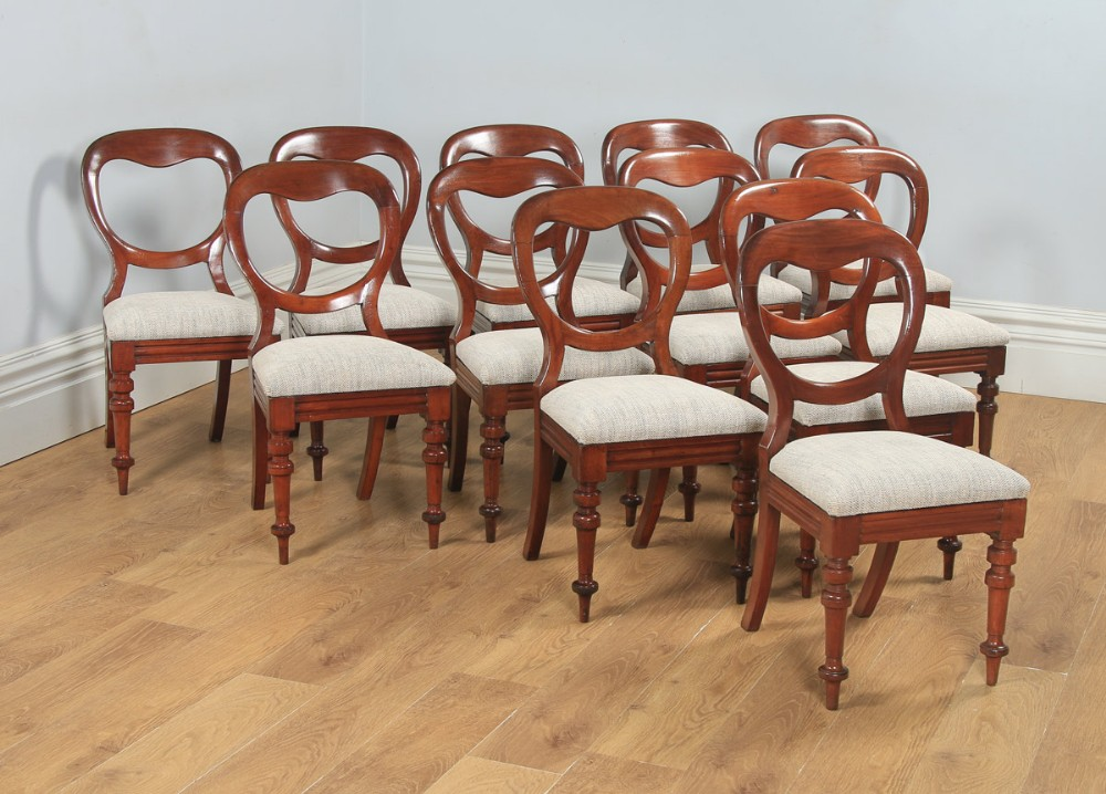 antique english victorian set of 12 twelve mahogany balloon crown back dining chairs circa 1860