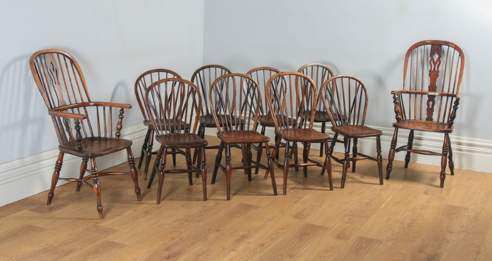 antique english set of 10 ten victorian ash beech elm windsor stick hoop back kitchen dining chairs circa 1840