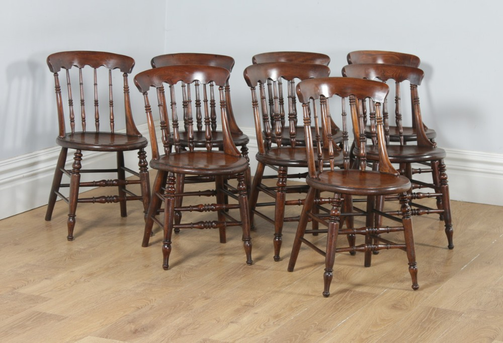antique english set of 8 eight victorian ash elm windsor spindle bar back kitchen dining chairs circa 1880