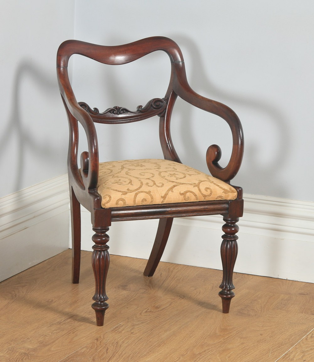 antique english victorian mahogany library desk dining armchair carver circa 1840