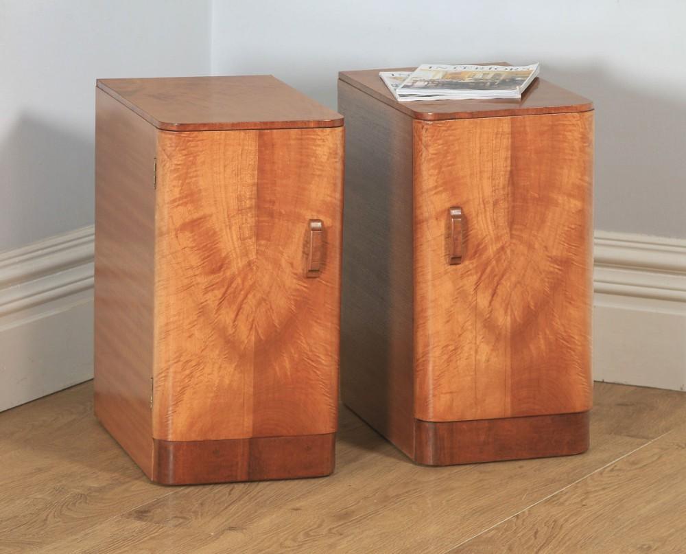 antique english pair of art deco figured mahogany bedside cupboards circa 1930