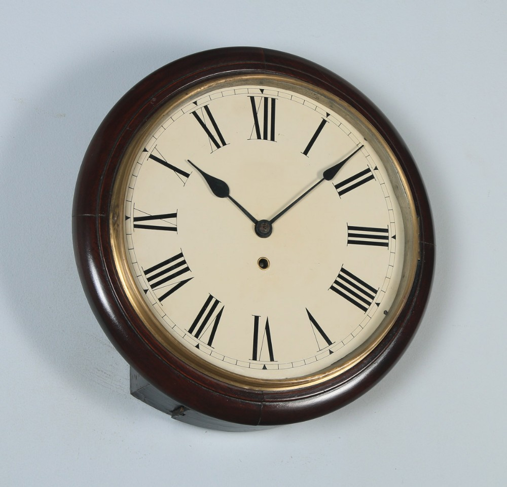antique 15 mahogany railway station school round dial wall clock timepiece