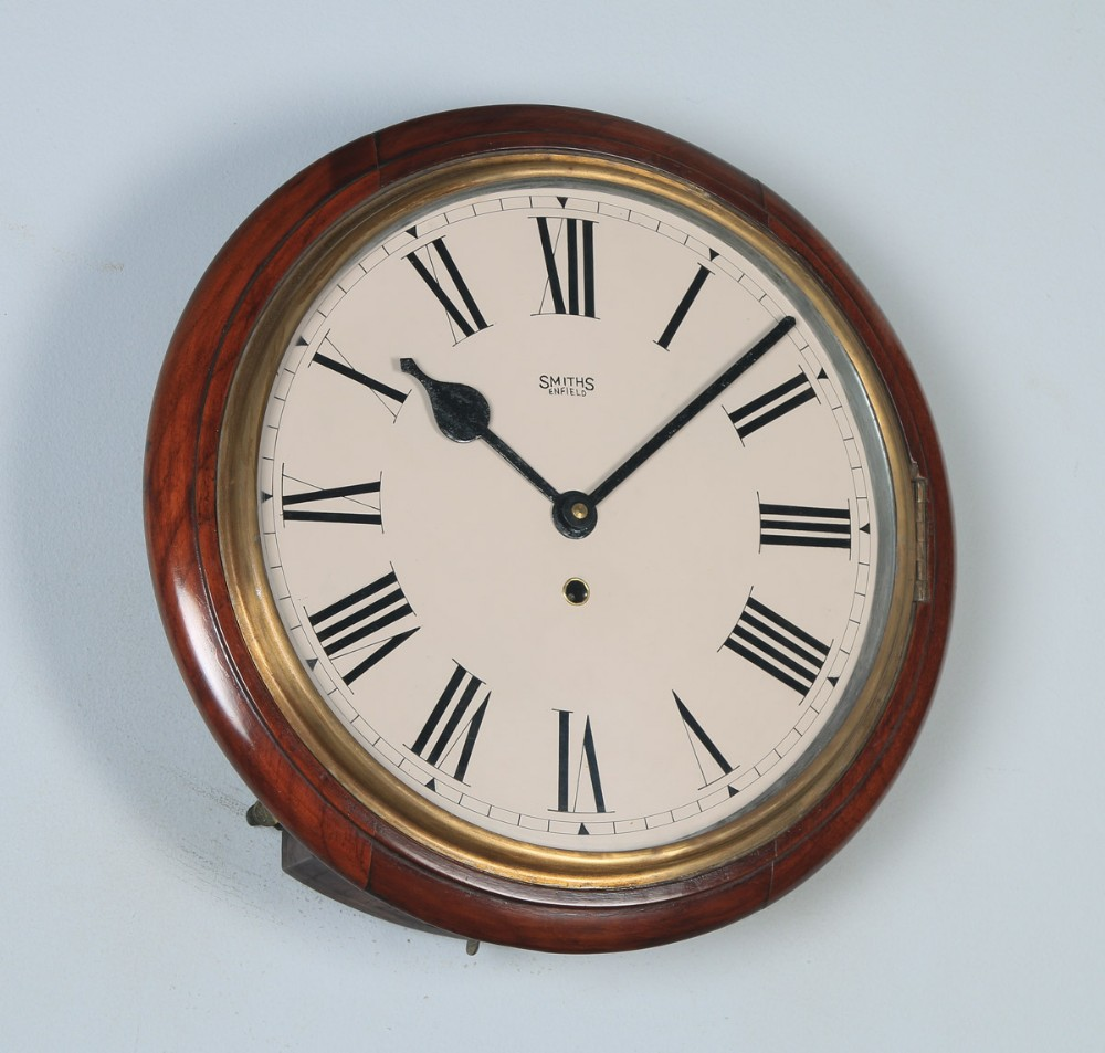 antique 15 mahogany smiths enfield railway station school round dial wall clock timepiece