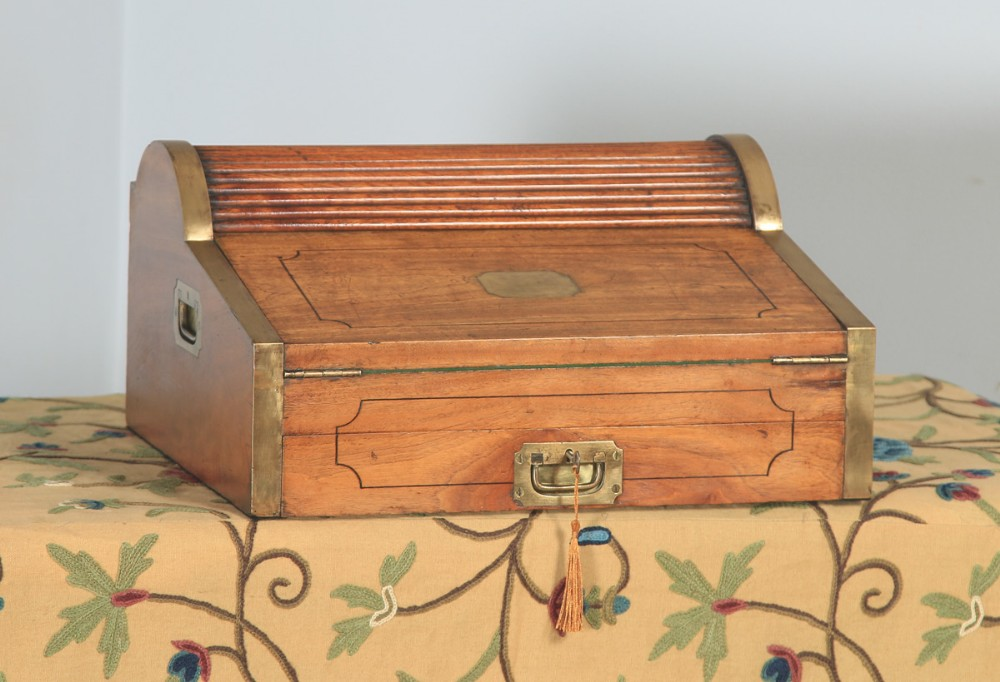 antique victorian colonial camphor wood brass rolltop metamorphic lap box writing desk circa 1850