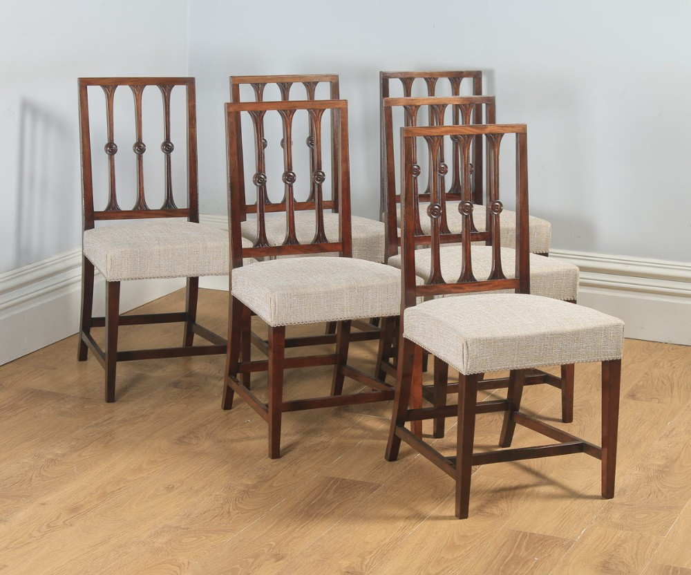 antique english set of six georgian hepplewhite gothic style mahogany dining chairs circa 1900