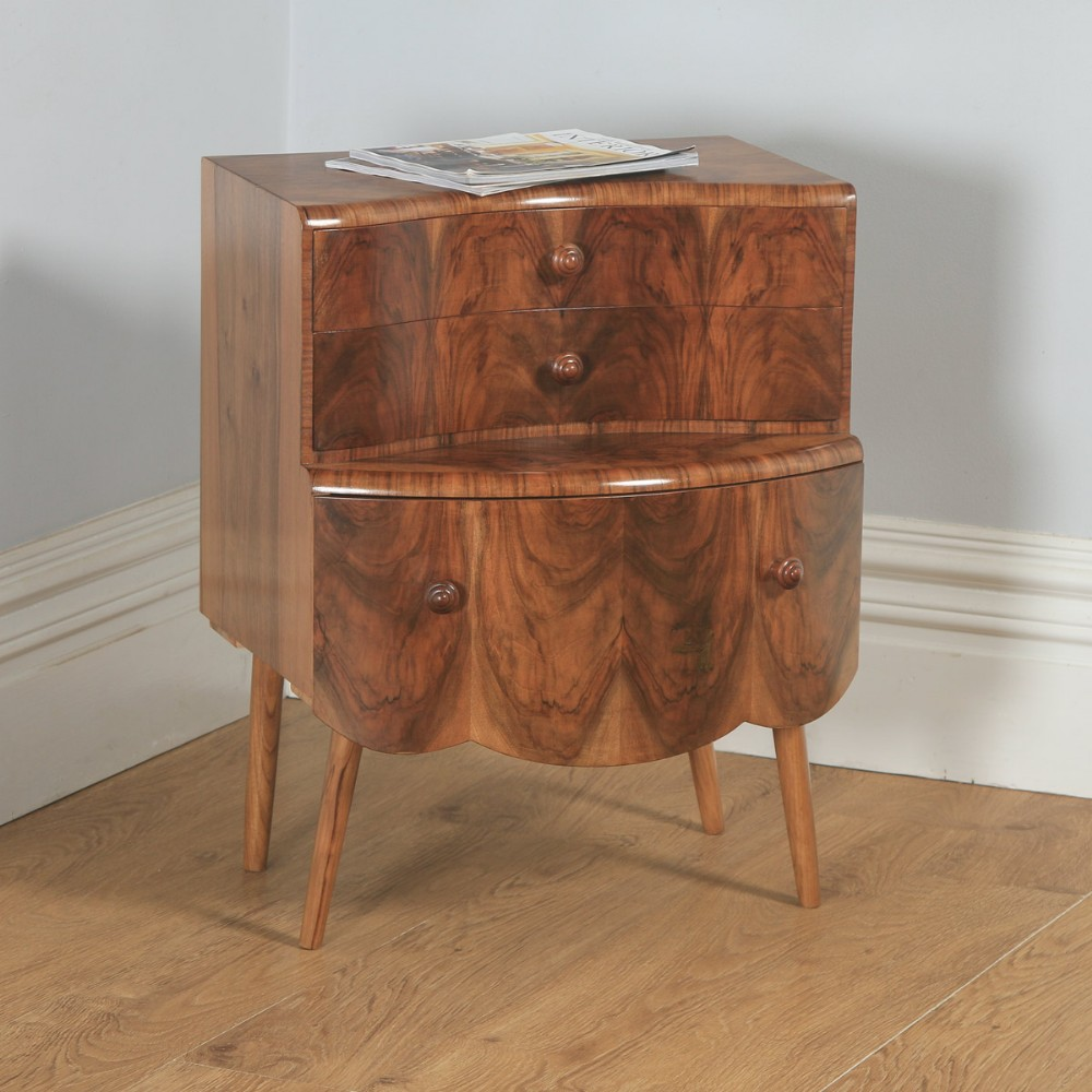 antique english art deco burr walnut bow front bedside chest of drawers circa 1930