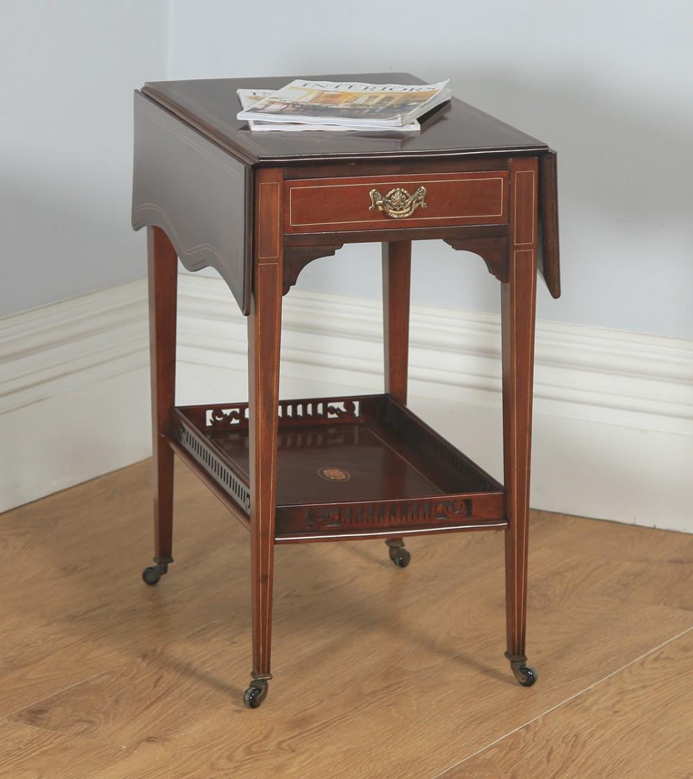 antique english edwardian mahogany folding drop leaf occasional side table circa 1910