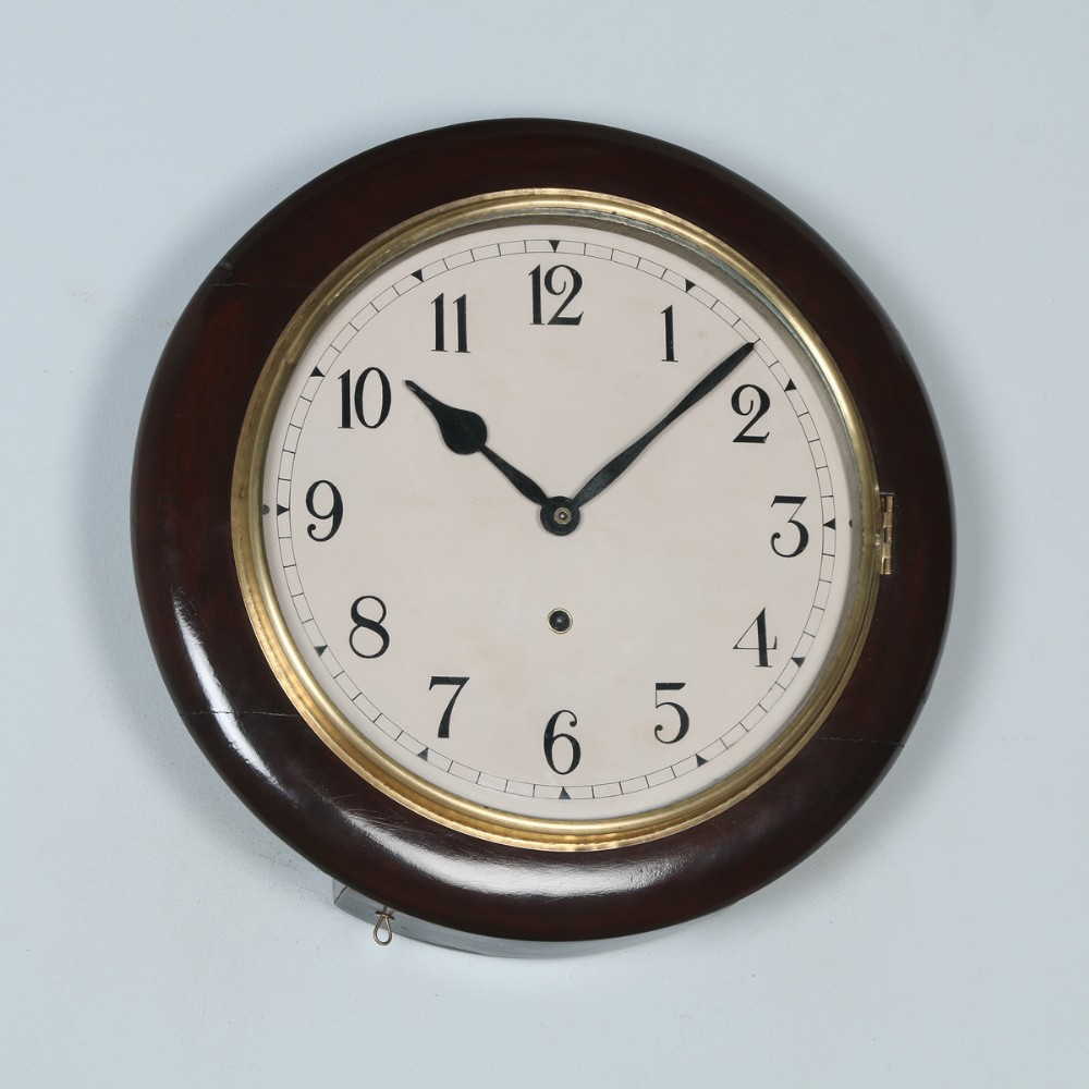 antique 16 mahogany ansonia railway station school round dial wall clock timepiece