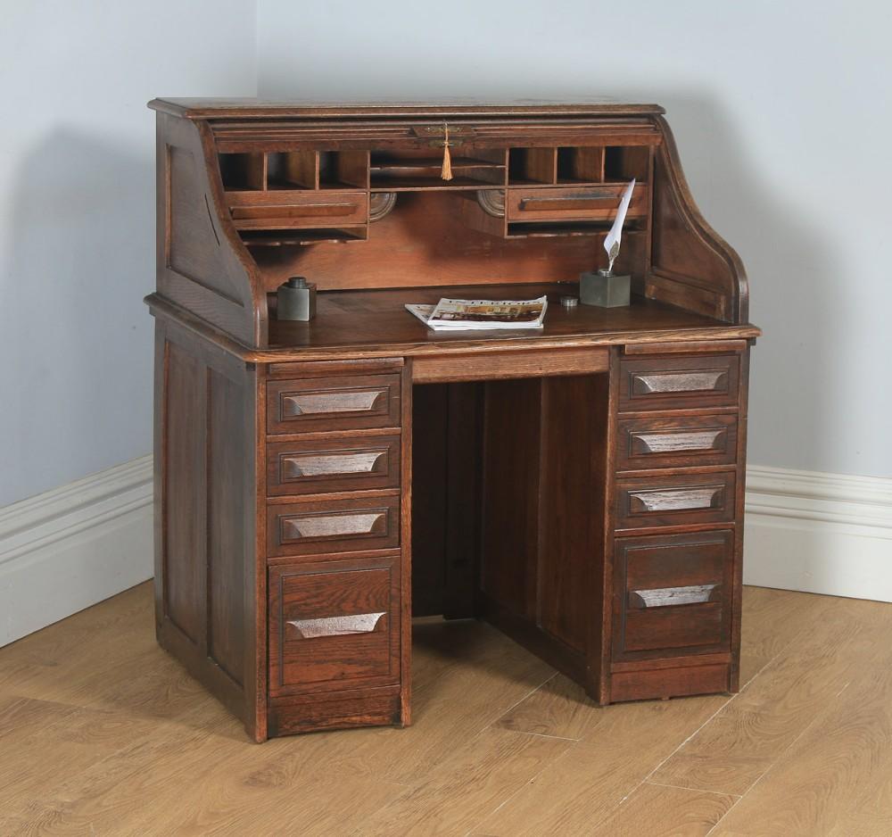 antique english george v 3ft 6 oak roll top pedestal office desk circa 1920
