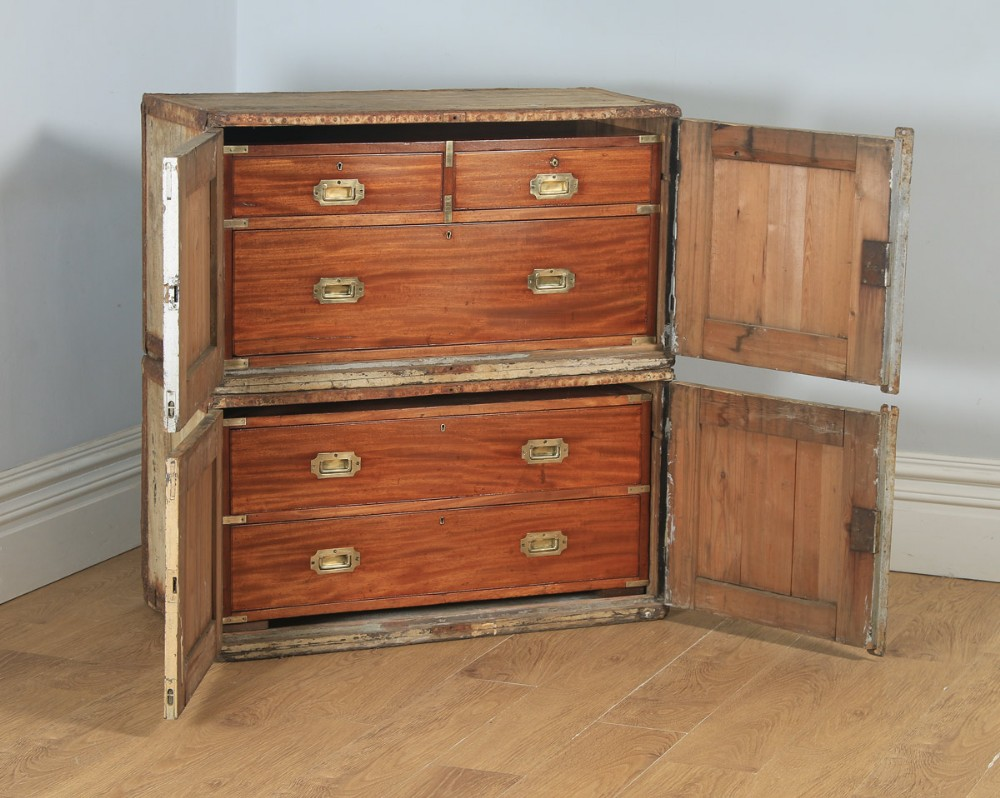 antique english victorian colonial mahogany brass military campaign chest of drawers with original transportation case circa 1850