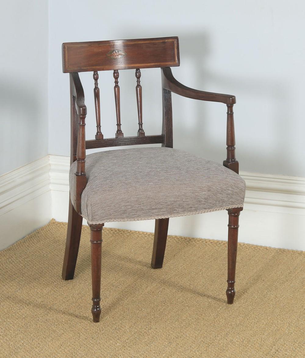 antique english georgian regency mahogany inlaid bar back elbow desk dining armchair carver circa 1825