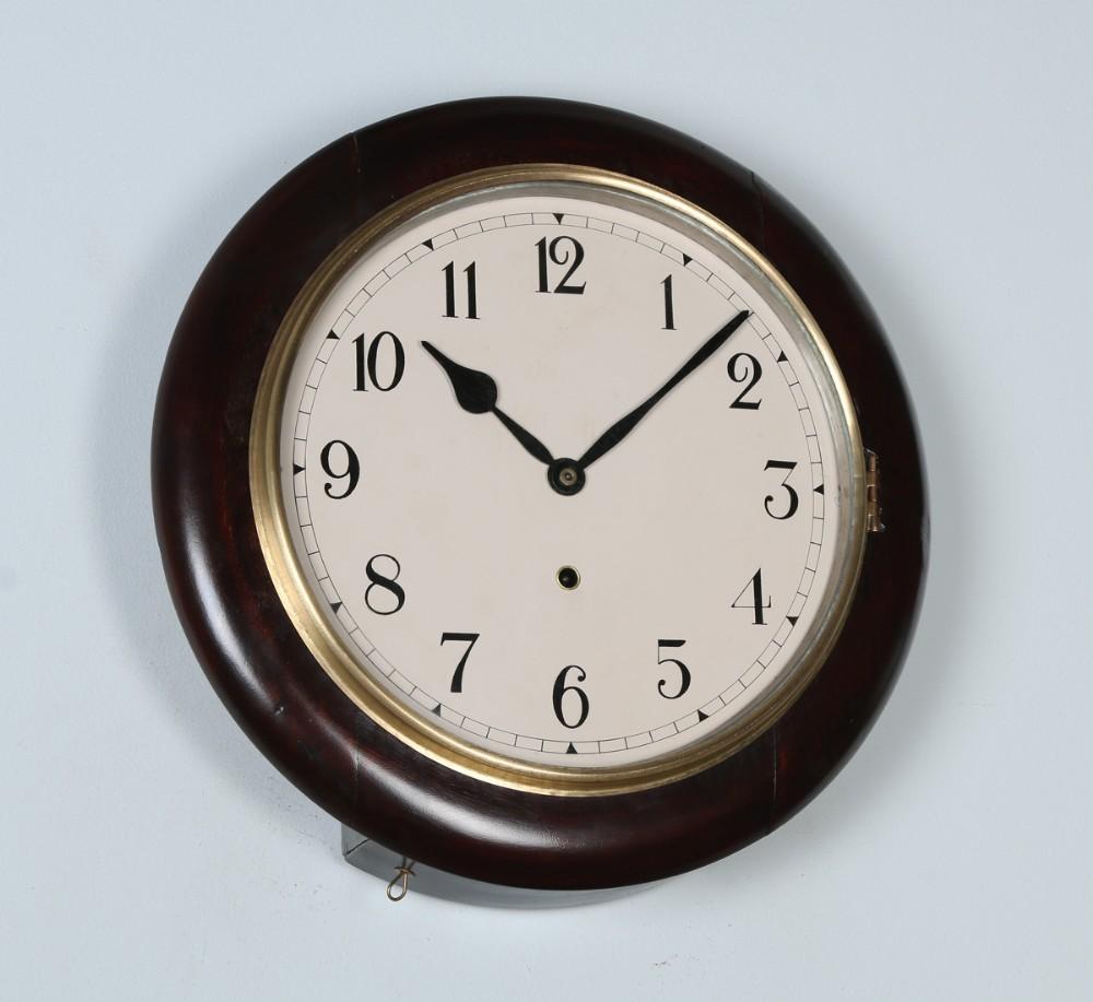 antique 16 mahogany ansonia railway station school round wall clock timepiece