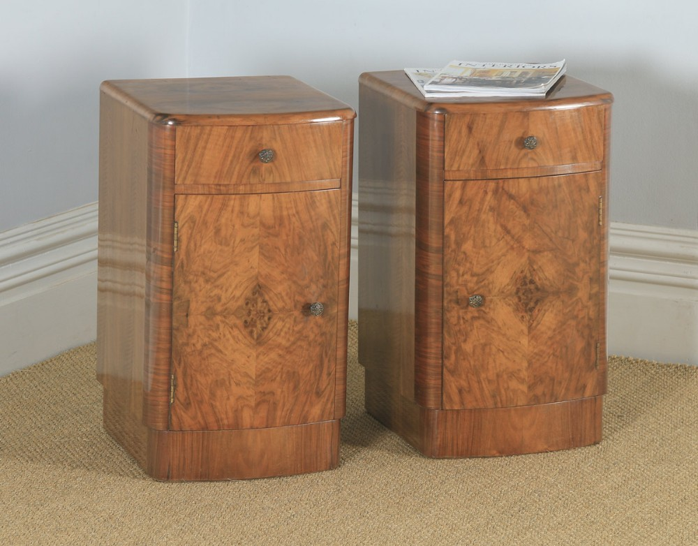 antique english pair of art deco burr walnut bow front bedside cupboards circa 1930