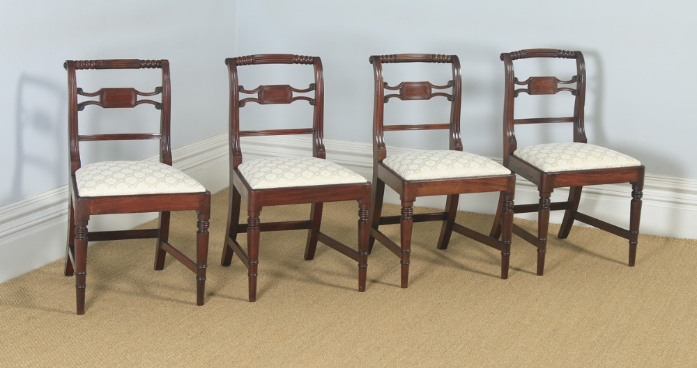 antique english set of four regency georgian mahogany dining side chairs circa 1820