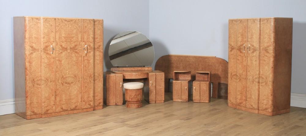 antique english art deco burr walnut six piece bedroom suite by m p davis furniture of london circa 1930