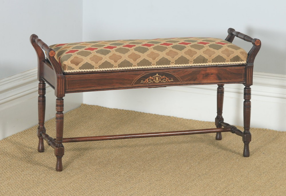 antique english victorian rosewood satinwood inlaid piano music duet stool circa 1890