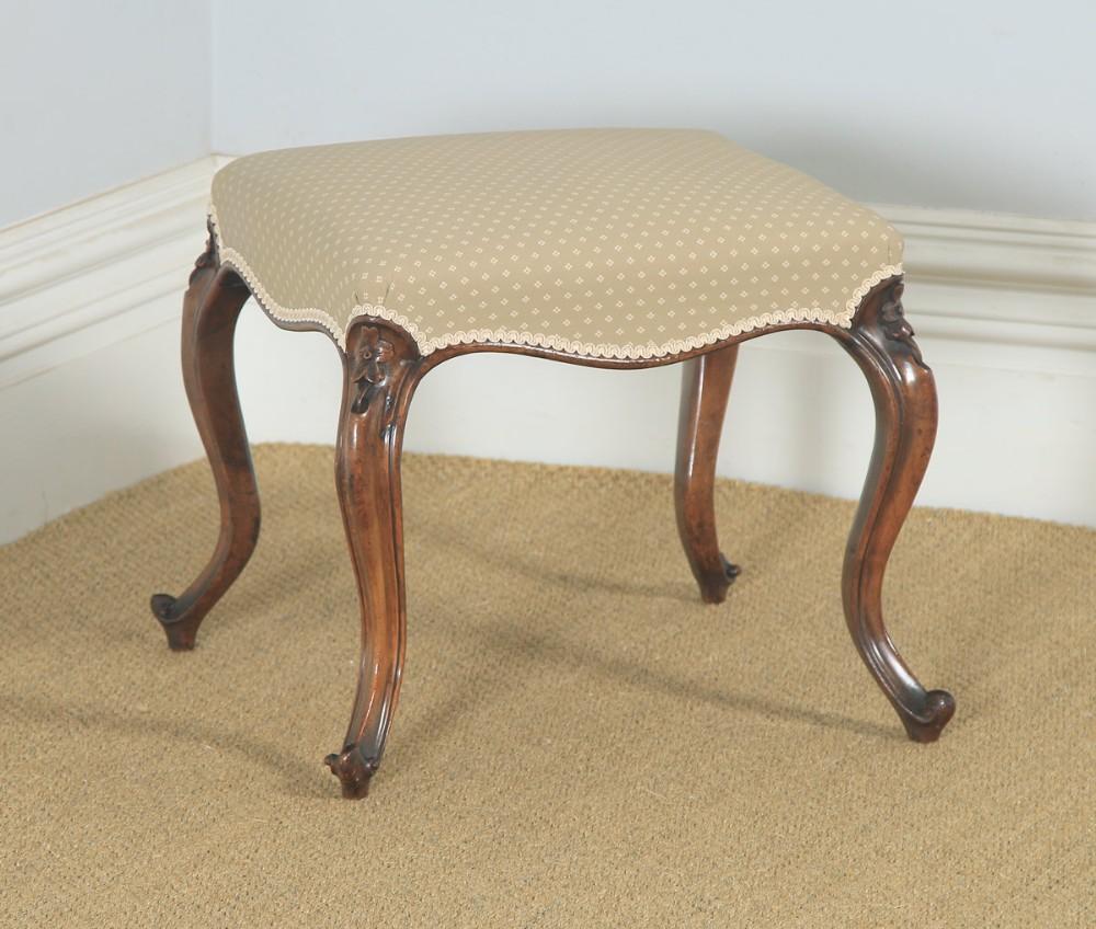 antique english victorian walnut upholstered dressing foot stool circa 1870