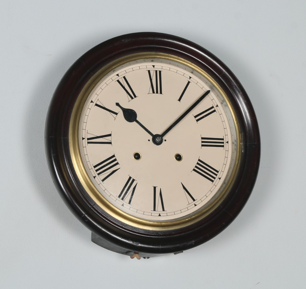 antique 16 seikosha mahogany railway station school round dial wall clock chiming striker