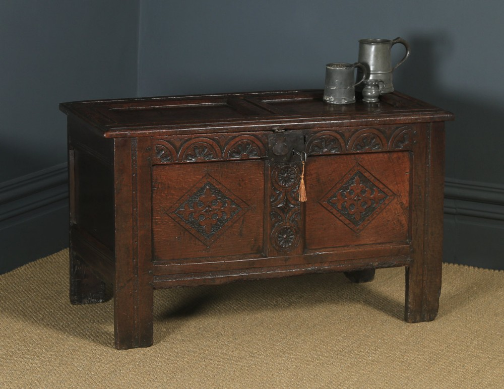 antique english 18th century georgian oak joined panelled coffer chest blanket box trunk circa 1730
