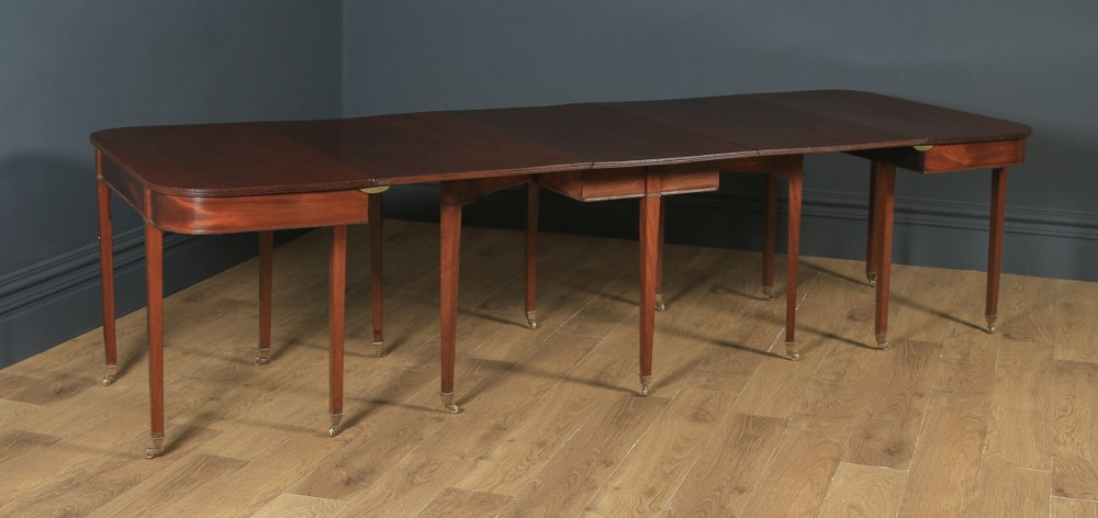 antique english georgian regency solid mahogany round extendable d end drop leaf dining table seats 12 persons circa 1820