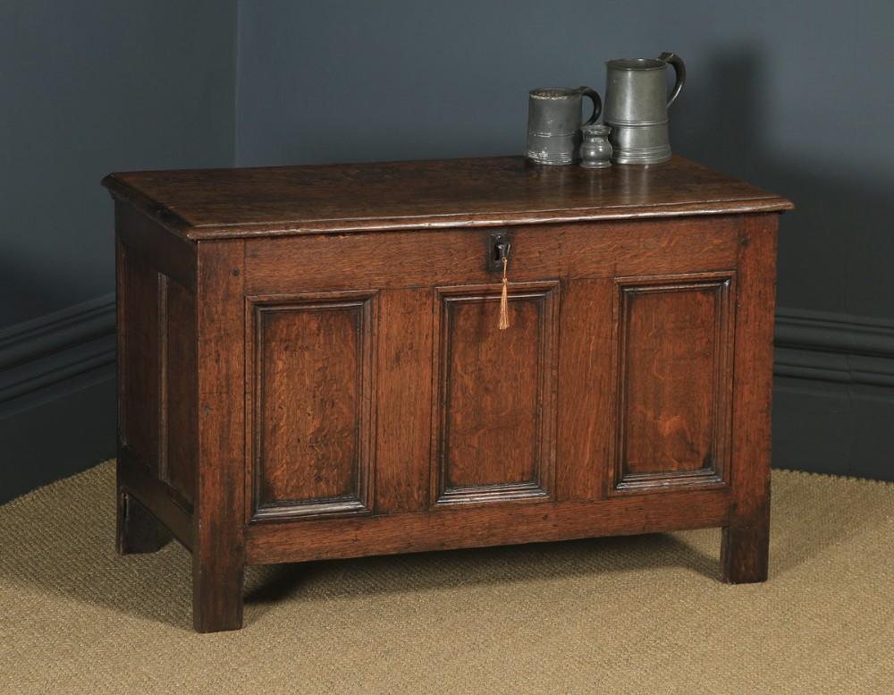 antique english 18th century georgian oak joined tripe panel coffer chest blanket box circa 1780