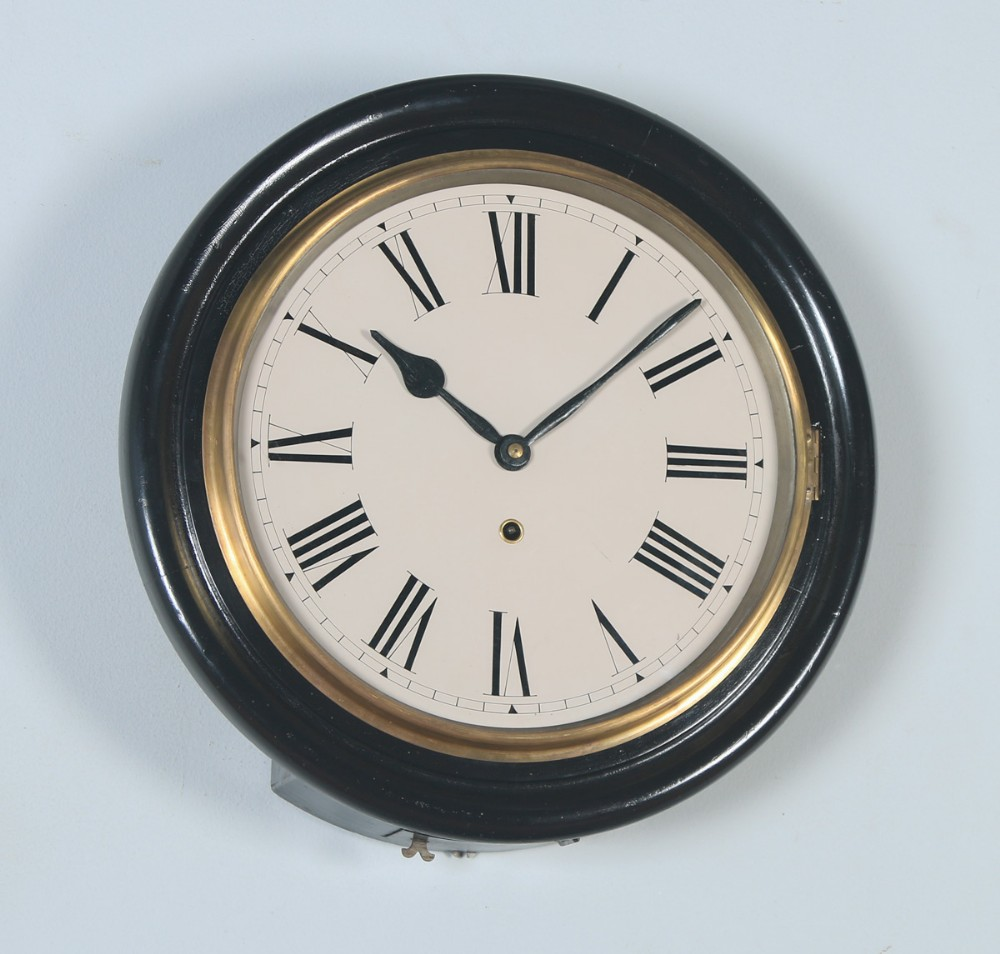 antique 16 mahogany railway station school round dial wall clock timepiece