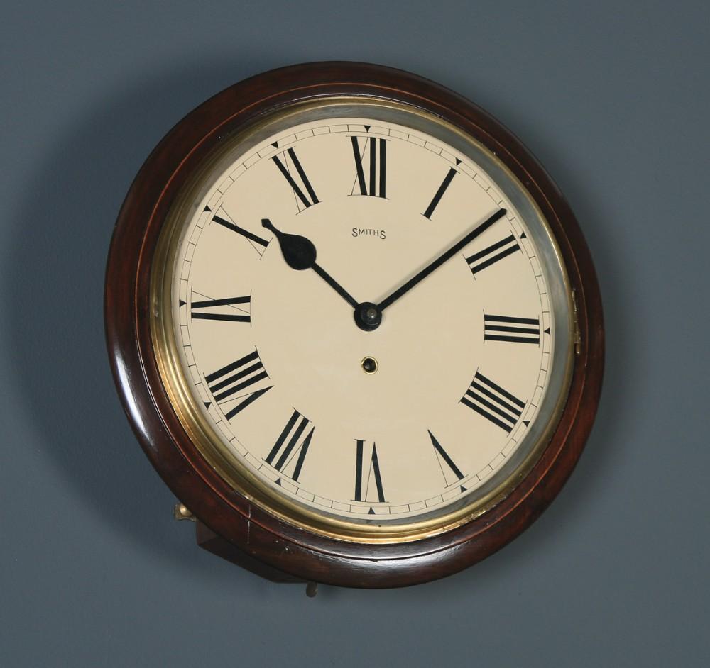 antique 15 mahogany smiths railway station school round wall clock timepiece