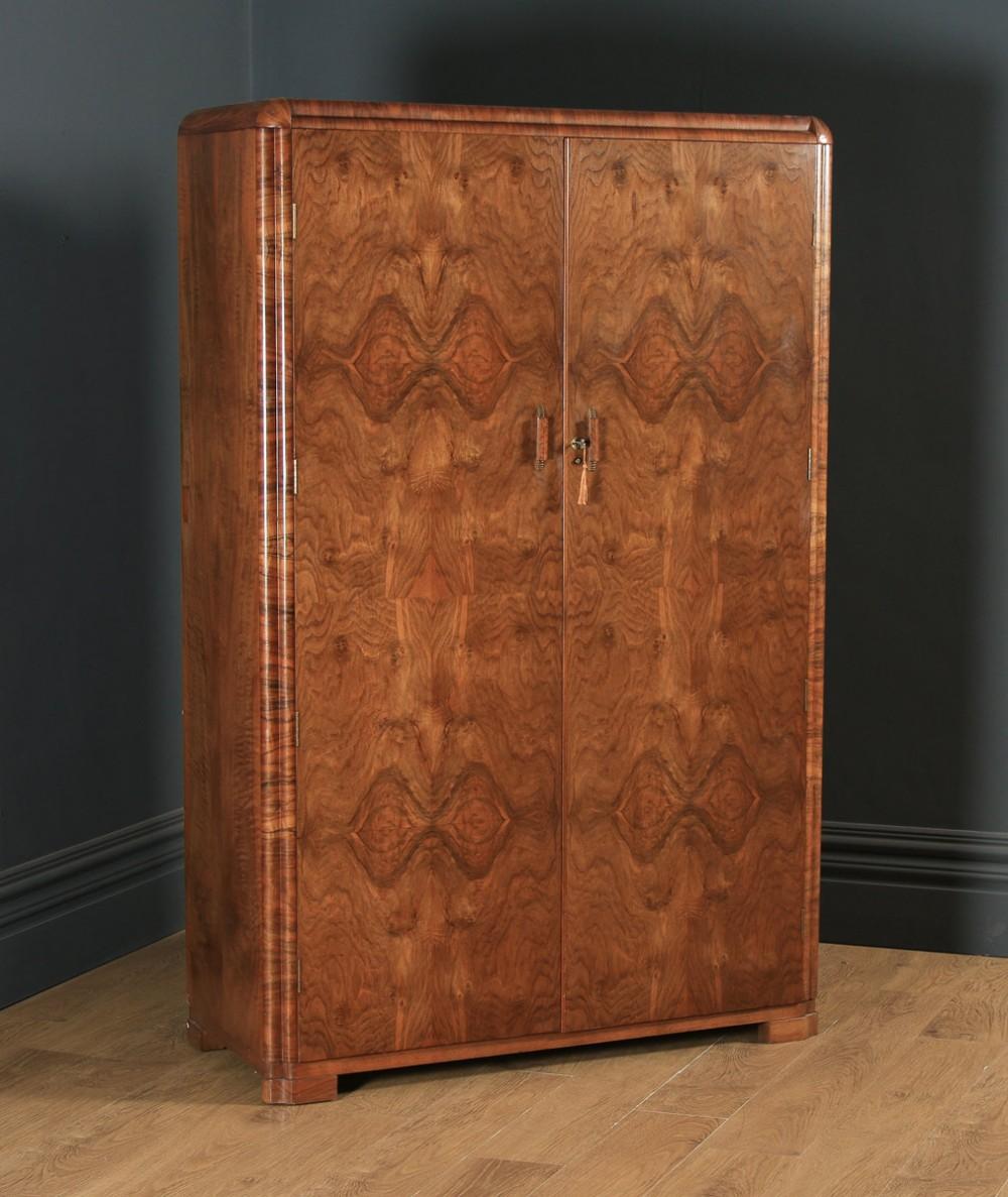antique scottish art deco burr walnut two door compactum wardrobe by aw stewart circa 1930