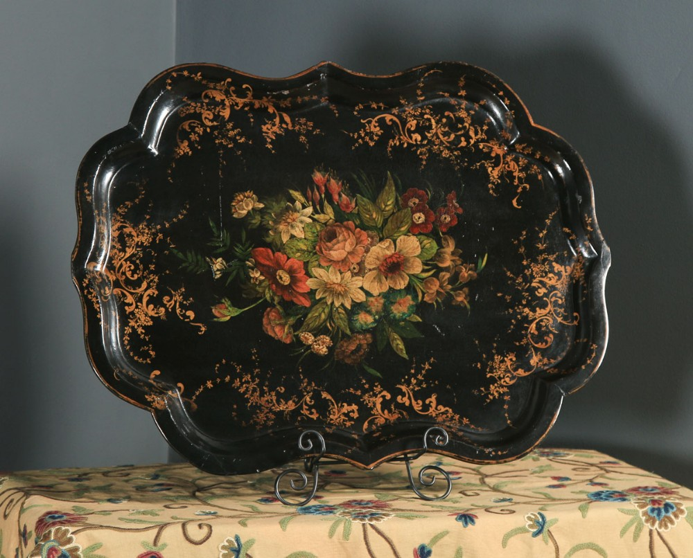 antique english victorian ebonised chinoiserie floral papier mch drinks butlers tray circa 1860