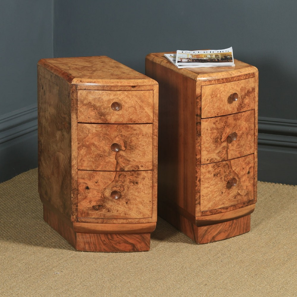 antique english pair of art deco burr walnut bedside chests tables cabinets nightstands circa 1930