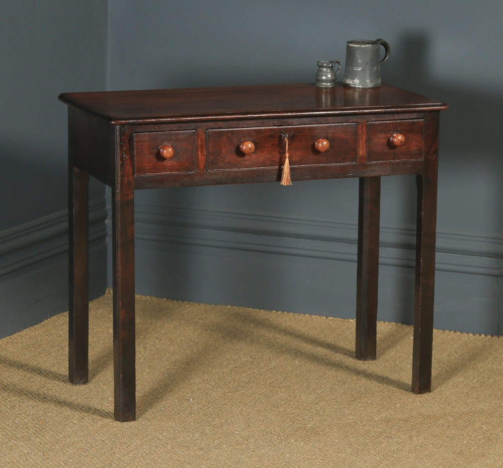 antique english georgian mahogany three drawer occasional hall writing lowboy side table circa 1800