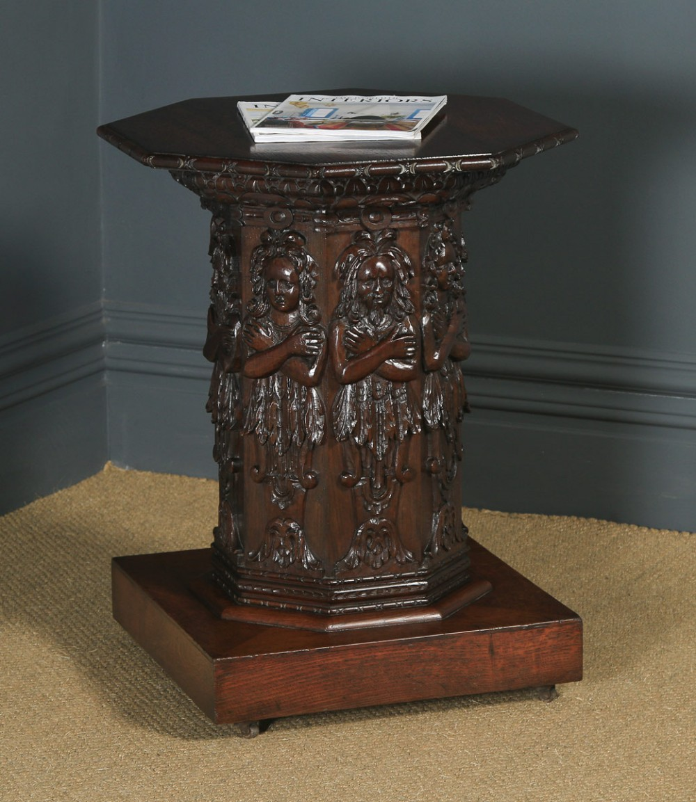antique english victorian oak gothic style carved octagonal occasional table circa 1860
