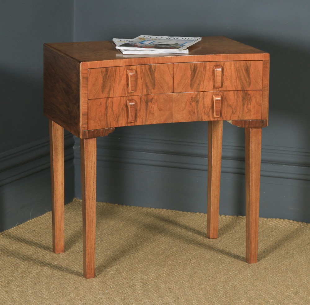 antique english art deco figured walnut bowed bedside occasional side table cabinet circa 1930