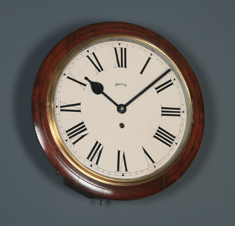 antique 15 mahogany smiths railway station school round dial wall clock timepiece